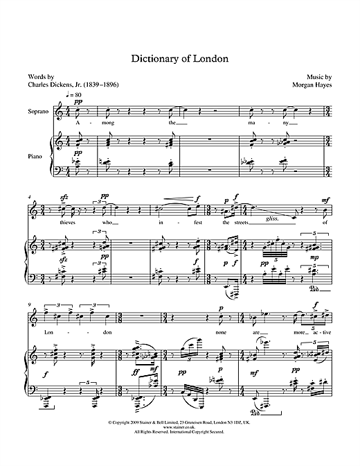 Dictionary of London (for soprano & piano) Sheet Music