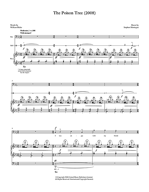 The Poison Tree (for baritone, piano & bell) Sheet Music