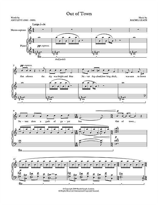 Out of Town (for soprano & piano) Sheet Music
