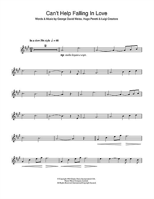 Cant Help Falling In Love Saxophone Sheet Music By Elvis Presley