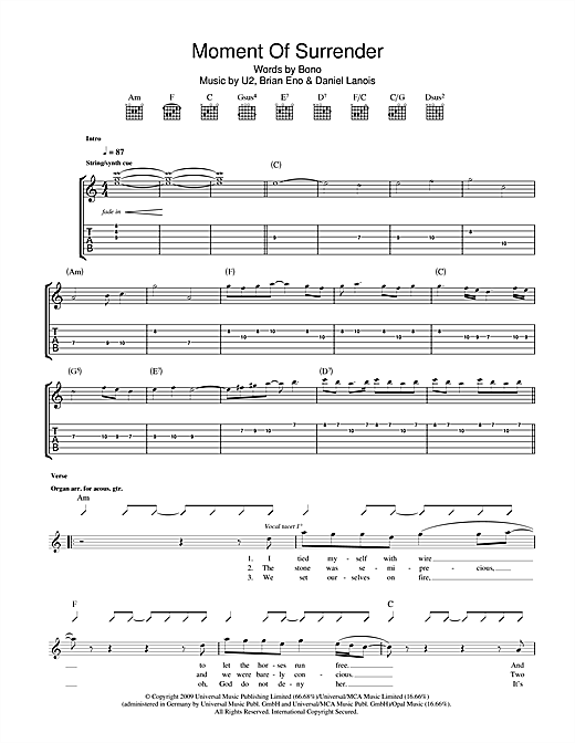 Moment Of Surrender Sheet Music
