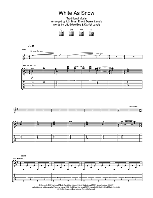 Tablature guitare White As Snow de U2 - Tablature Guitare