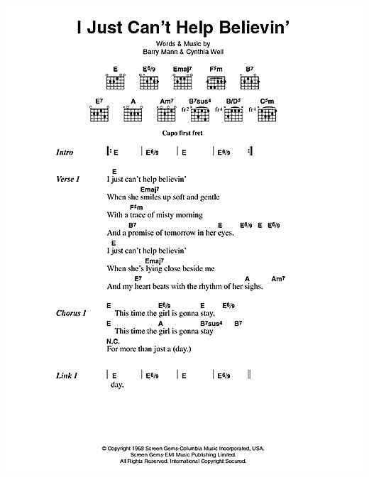 I Just Can't Help Believin' (Guitar Chords/Lyrics)