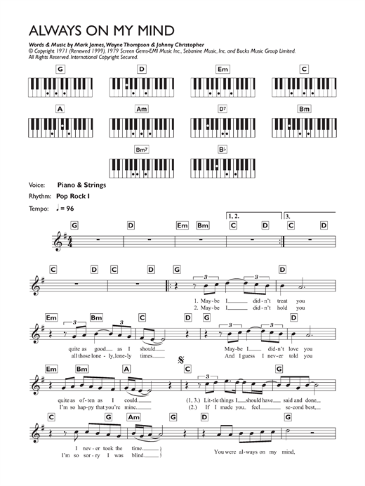 Always On My Mind Sheet Music
