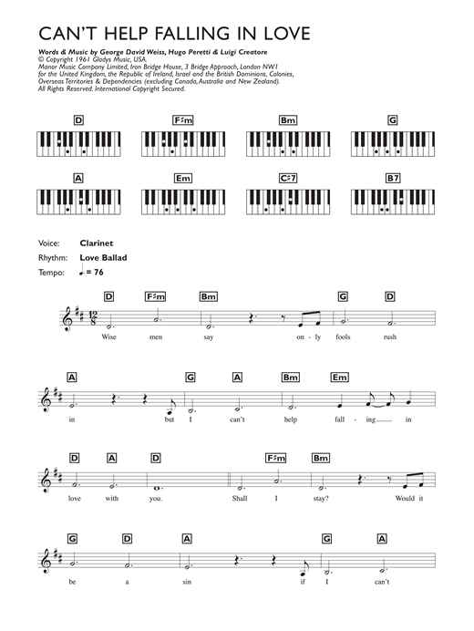 can t help falling in love sheet music