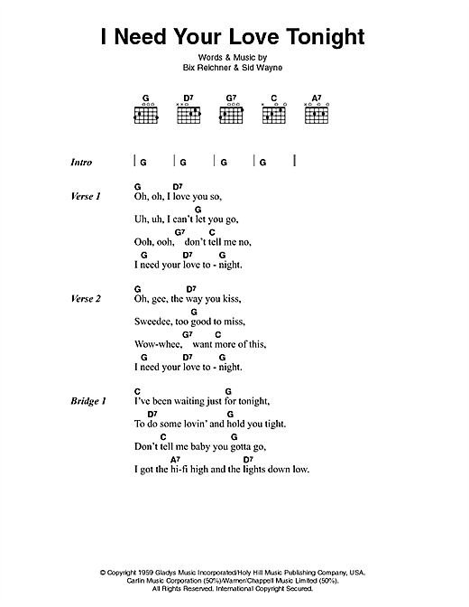 I Need Your Love Tonight Sheet Music