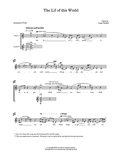 Partition autre The Lif of this World (for voice & guitar) de Stuart MacRae - Piano Voix