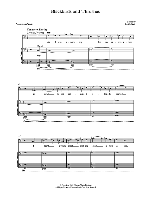 Blackbirds and Thrushes (for bass/baritone & piano) Sheet Music