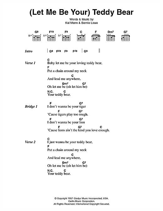 Let Me Be Your Teddy Bear Sheet Music By Elvis Presley Lyrics