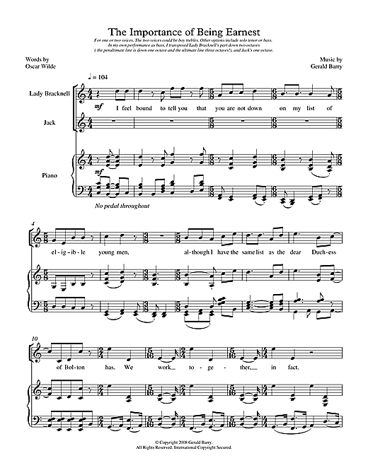 The Importance of Being Earnest (for two voices) Sheet Music