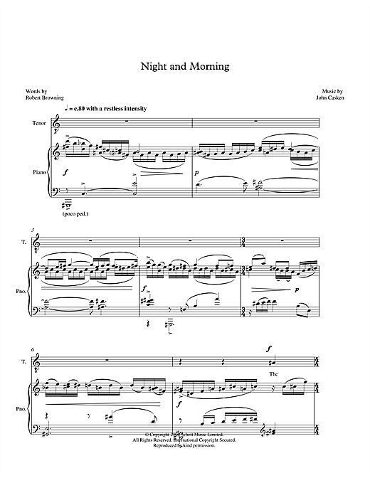 Night and Morning (for tenor & piano) Sheet Music