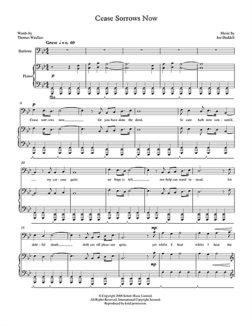 Cease Sorrows Now (for baritone & piano) Sheet Music