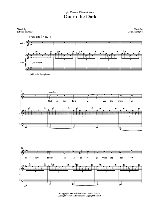 Out in the Dark (for soprano & piano) Sheet Music