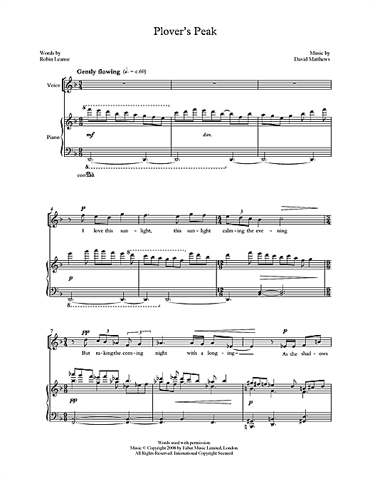 Plover's Peak (for tenor & piano) Sheet Music