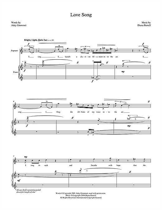 Love Song (for soprano & piano) Sheet Music