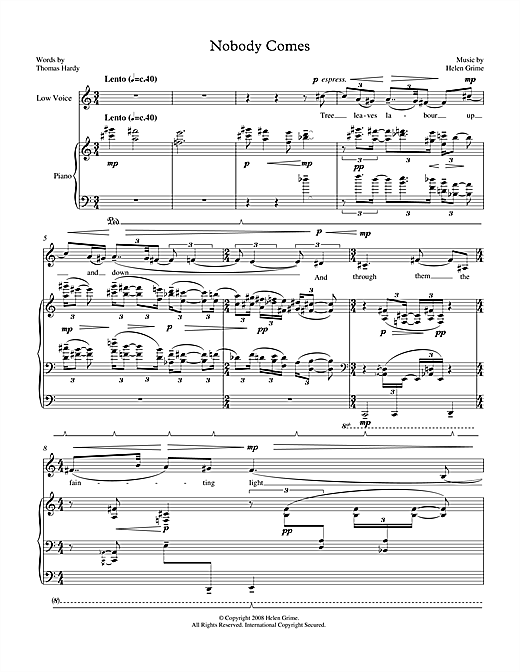 Nobody Comes (for low voice & piano) Sheet Music