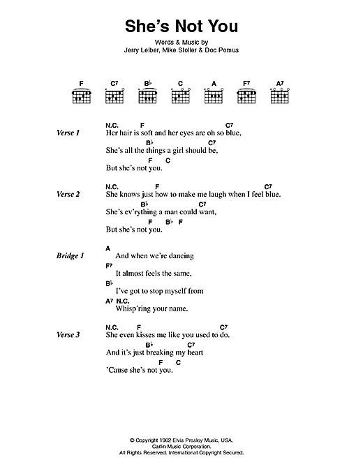 She's Not You Sheet Music