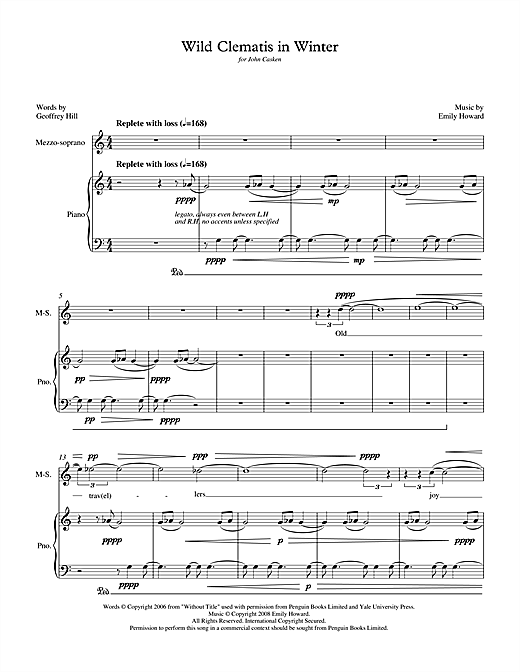 Wild Clematis in Winter (for mezzo-soprano & piano) Sheet Music