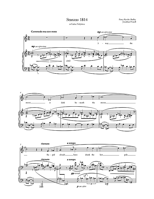 Stanzas 1814 (for mezzo-soprano & piano) (Piano & Vocal)