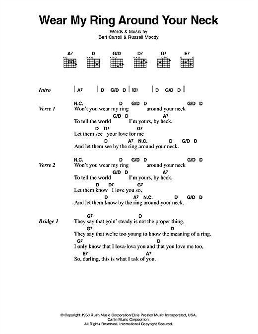 Wear My Ring Around Your Neck Sheet Music