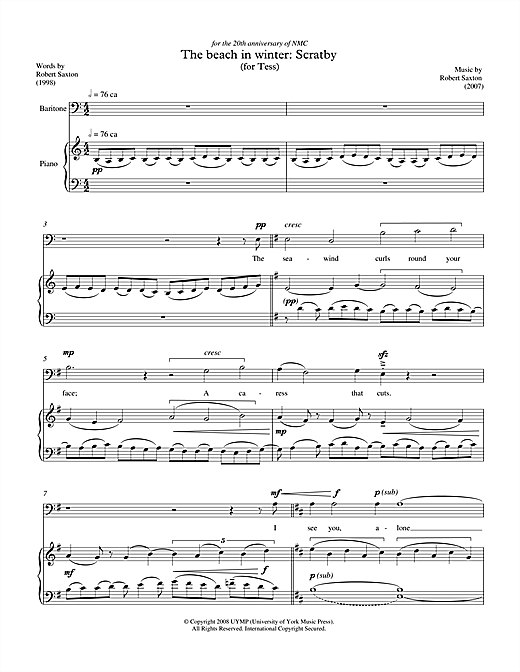 The beach in winter: Scratby (for baritone & piano) Sheet Music