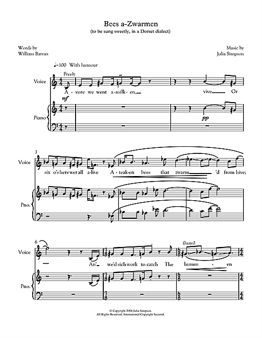 Partition autre Bees a-zwarmen (for mezzo-soprano & piano) de Julia Simpson - Piano Voix
