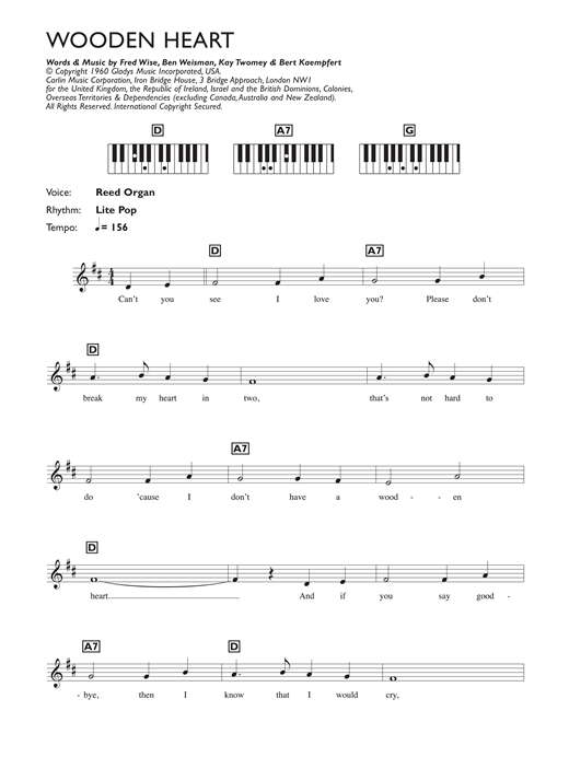 Wooden Heart Sheet Music