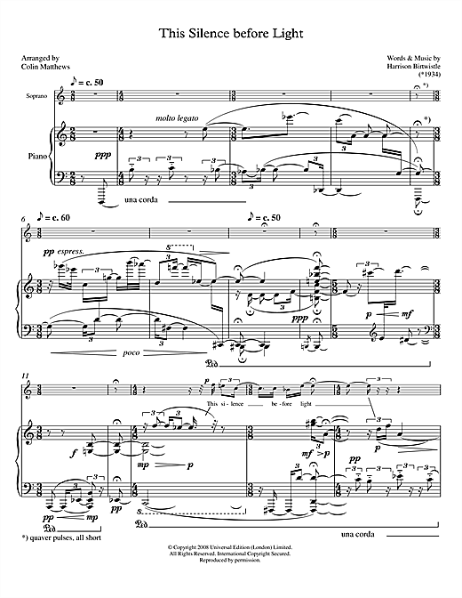 This Silence before Light (for soprano & piano) Sheet Music