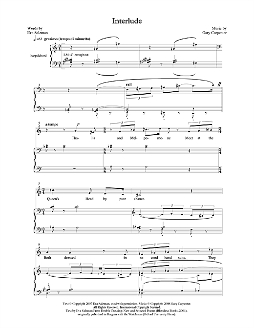 Interlude (for mezzo-soprano & harpsichord) Sheet Music