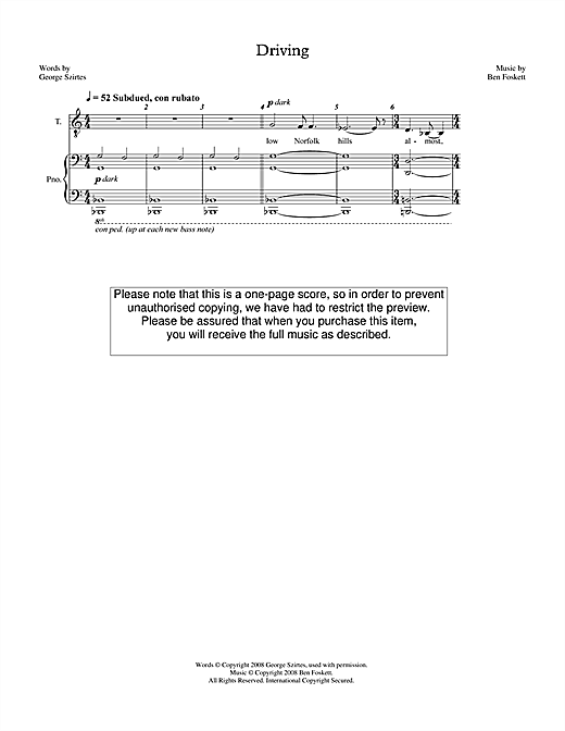 Partition autre Driving (for tenor & piano) de Ben Foskett - Piano Voix