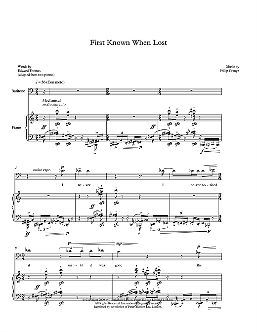 First Known When Lost (for baritone & piano) Sheet Music