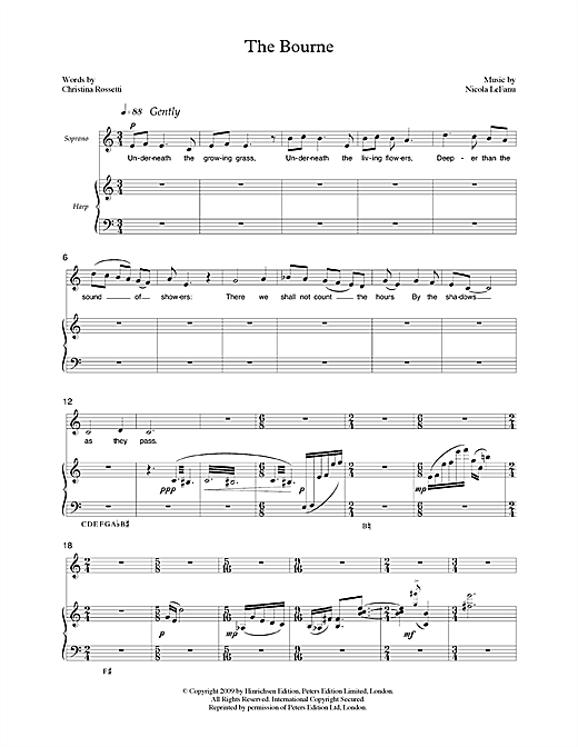 The Bourne (for soprano & harp) Sheet Music
