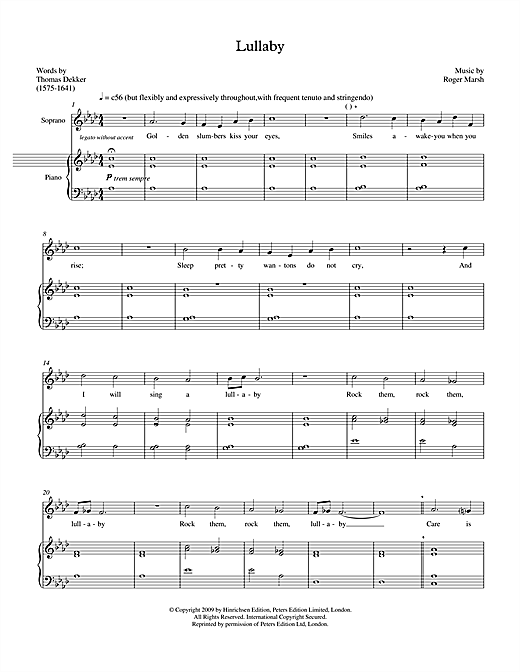 Lullaby (for soprano & marimba) Sheet Music