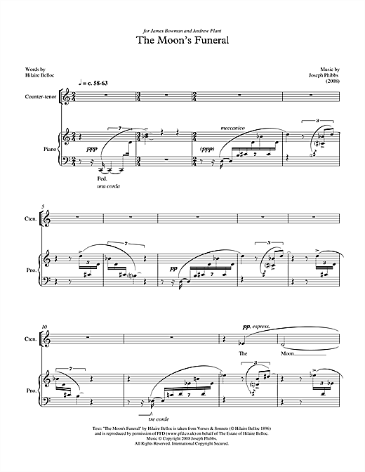 Partition autre The Moon's Funeral (for baritone) de Joseph Phibbs - Voix Baryton