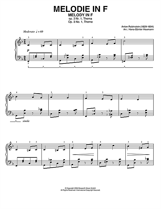 Partition piano Melody In F de Anton Rubinstein - Piano Solo