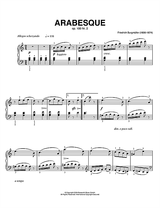 Partition piano Arabesque, Op.100, No.2 de Friedrich Burgmüller - Piano Solo