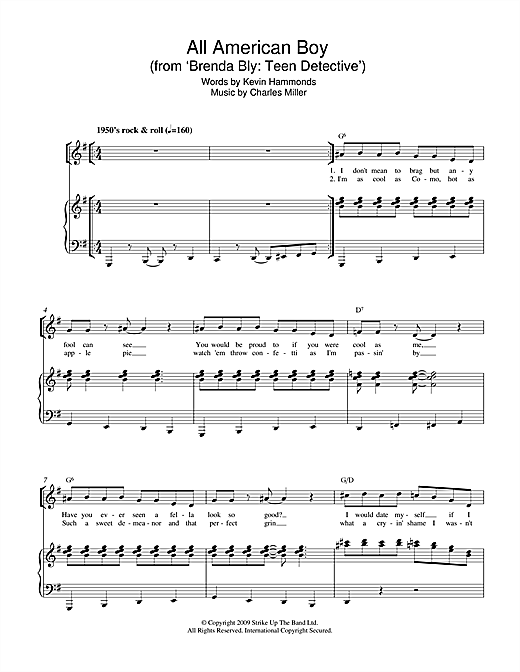 Partition piano All American Boy (from Brenda Bly de Miller & Hammonds - Piano Voix