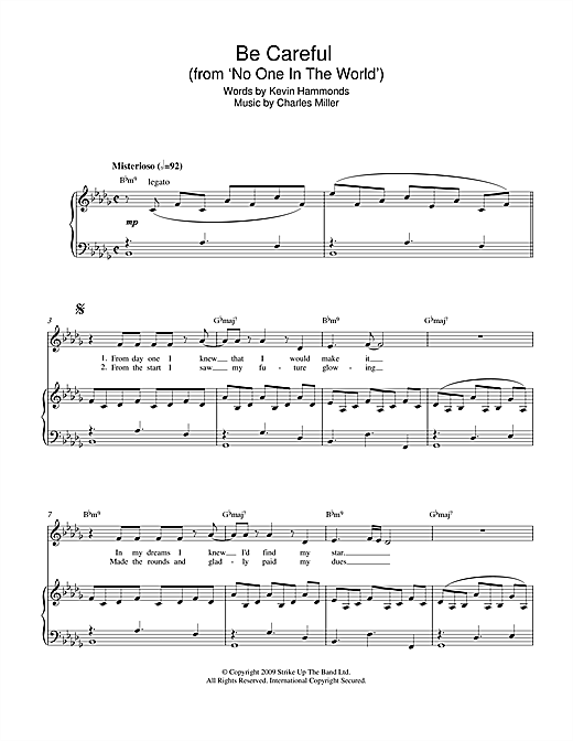 Be Careful (from No One In The World) Sheet Music
