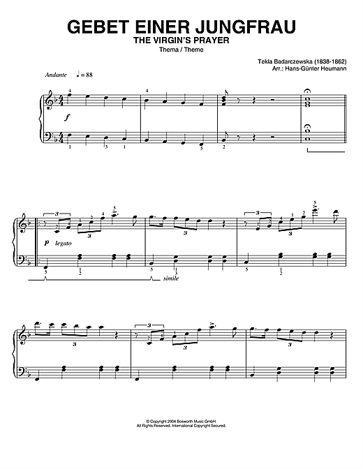 Partition piano The Virgin's Prayer (Theme) de Tekla Badarczewska - Piano Solo