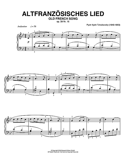 Old French Song, Op. 39, No. 16 (from Album For The Young) Sheet Music