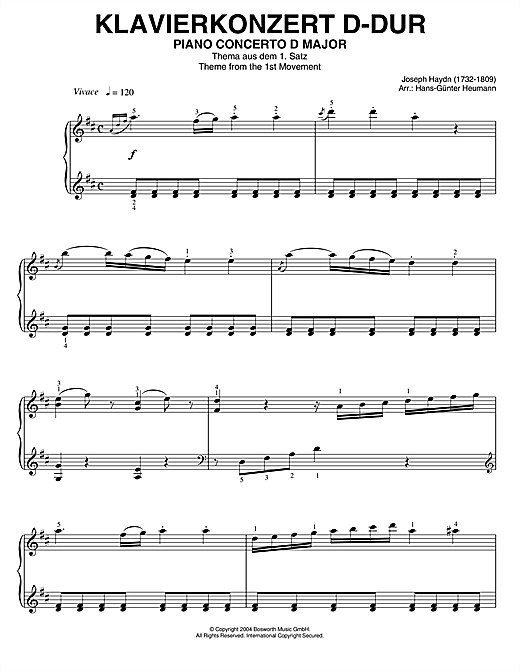 Piano Concerto In D Major, Theme From 1st Movement Sheet Music