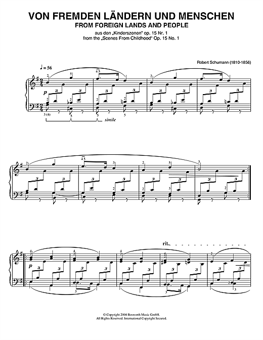 Partition piano From Foreign Lands And People (from Scenes From Childhood) de Robert Schumann - Piano Solo