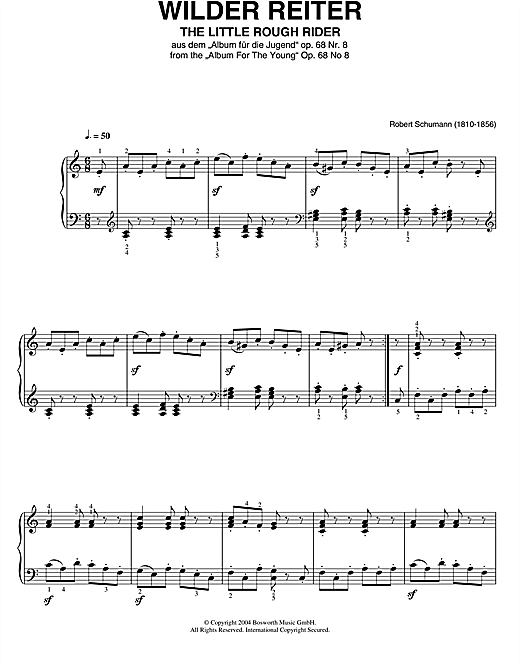 Partition piano The Little Rough Rider (From Album For The Young) de Robert Schumann - Piano Solo
