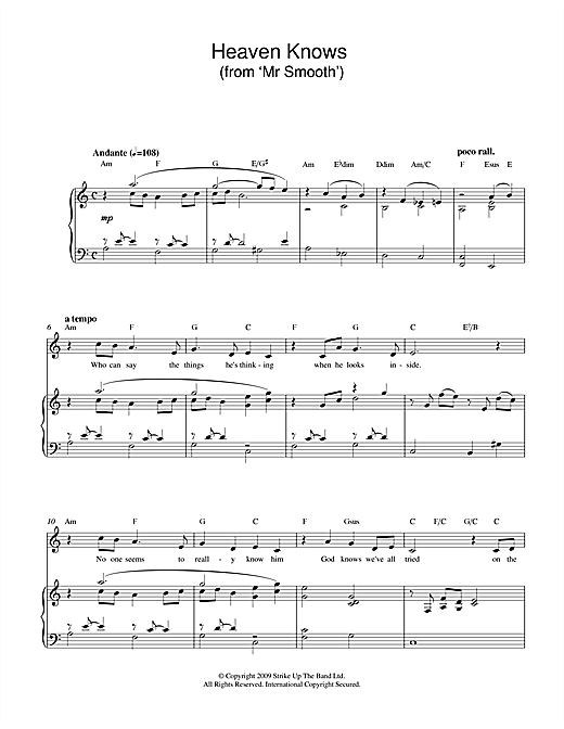 Heaven Knows (from Mr Smooth) Sheet Music
