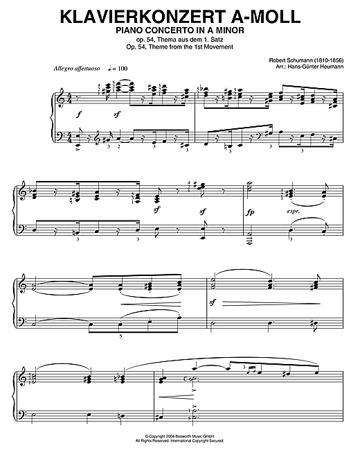 Piano Concerto In A Minor, Op.54, theme from the 1st Movement Sheet Music