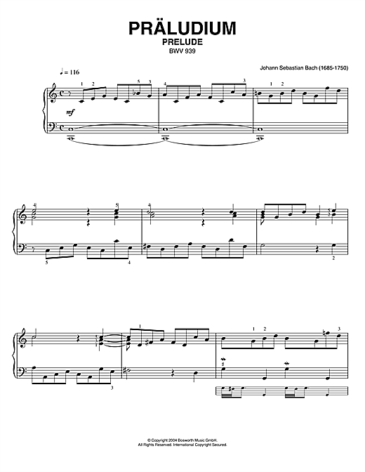 Prelude, BWV 939 Sheet Music