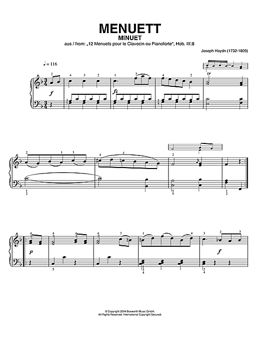 Minuet, From 12 Menuets Pour Le Clavecin Ou Pianoforte Sheet Music