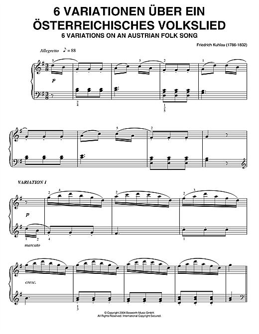 Partition piano Six Variations On An Austrian Folk Song de Friedrich Kuhlau - Piano Solo