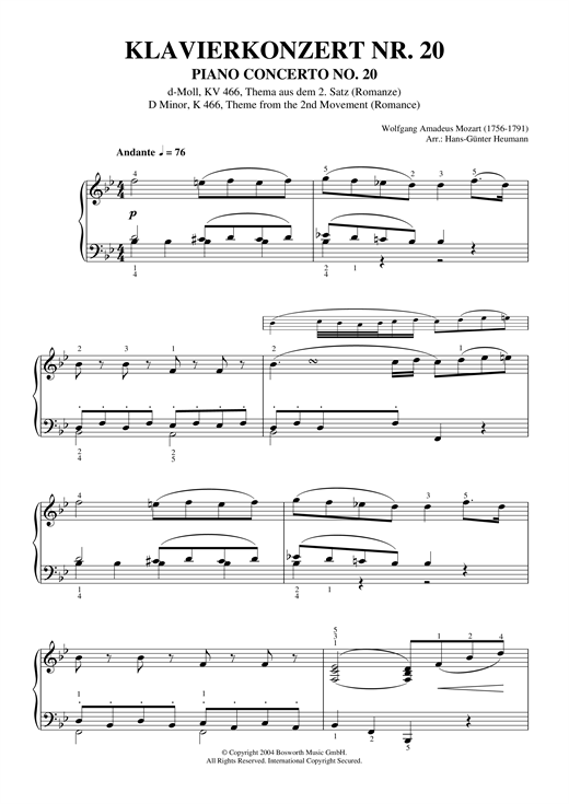 Romance (2nd Movement Theme) from Piano Concerto No.20, K466 Sheet Music
