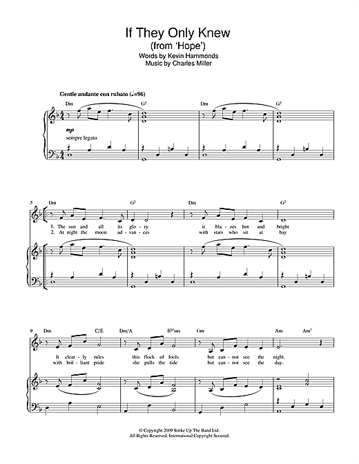 If They Only Knew (from Hope) Sheet Music